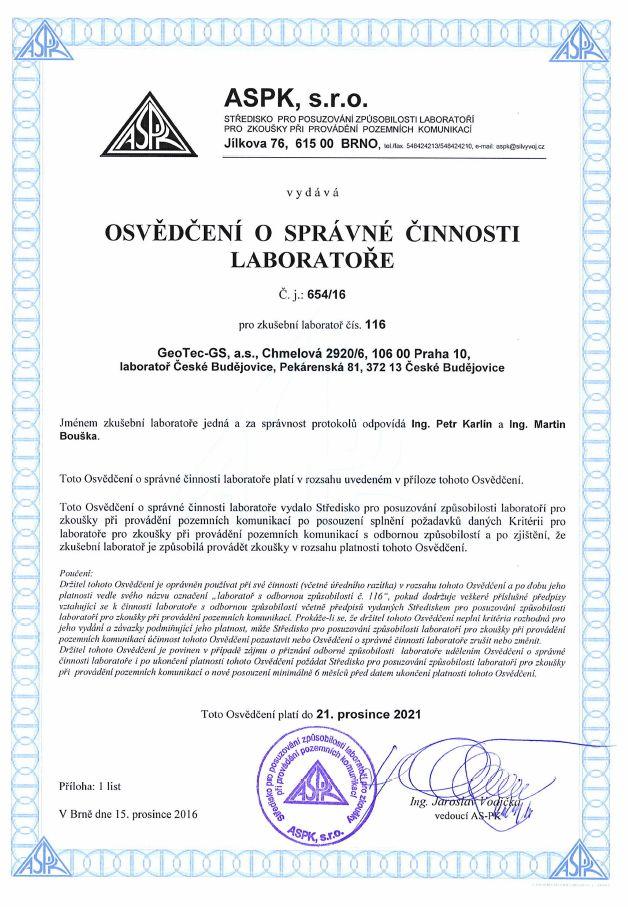 Osvědčení o správné činnosti laboratoře - ASPK